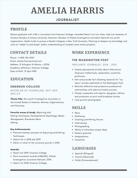 contoh cv bahasa inggris untuk beasiswa